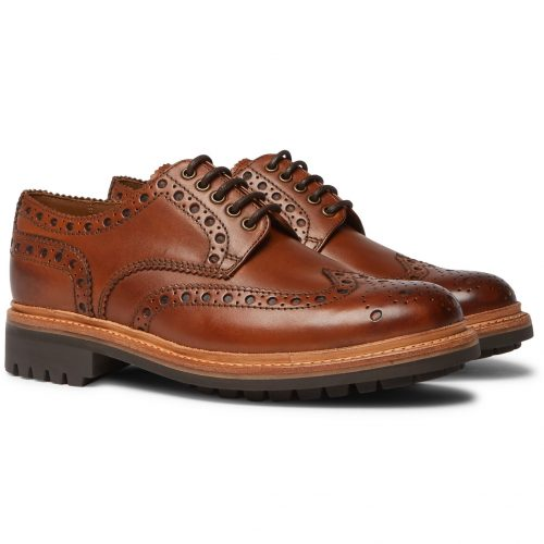 Mens Grenson Archie Wingtip Brogue Shoes in Tan Leather