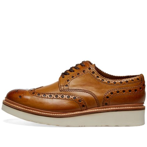 Mens Grenson Archie V Brogue Shoes in Tan Calf Leather
