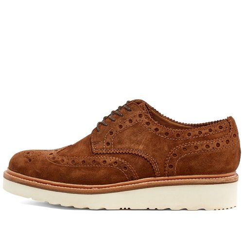 Mens Grenson Archie V Brogue Shoes in Cigar Suede