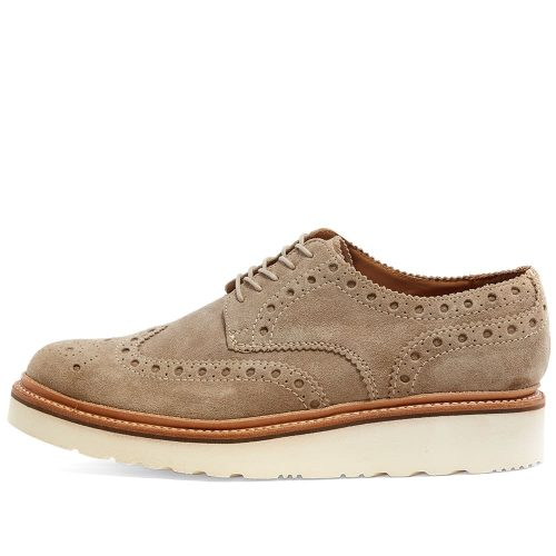 Mens Grenson Archie V Brogue Shoes in Pearl Suede