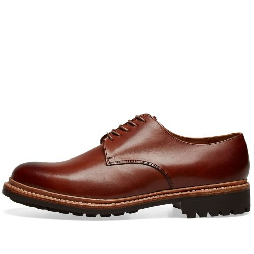 Mens Grenson Curt Commando Sole Derby Shoes in Tan Hand Painted