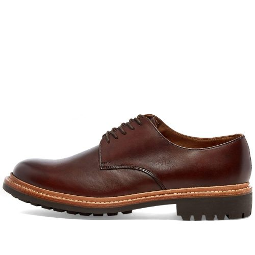 Mens Grenson Curt Commando Sole Derby Shoes in Dark Brown Hand Painted