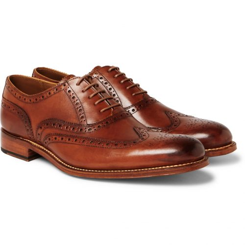 Mens Grenson Dylan Wingtip Brogue Shoes in Tan Leather