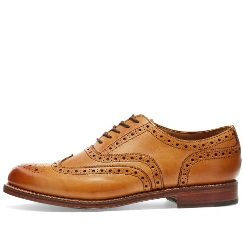 Mens Grenson Stanley Brogue Shoes in Tan Calf Leather