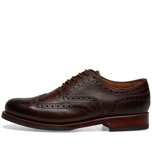 Mens Grenson Stanley Dainite Sole Brogue Shoes in Rich Brown