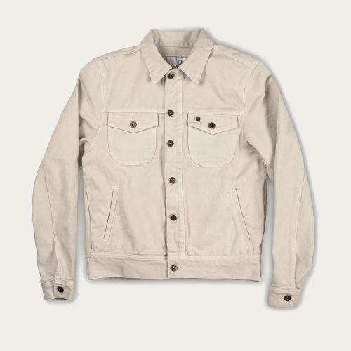 MensShangri-La Heritage Single Rider Jacket in Ivory Canvas