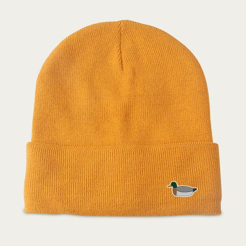 Mens Edmmond Studios Duck Beanie Hat in Mustard