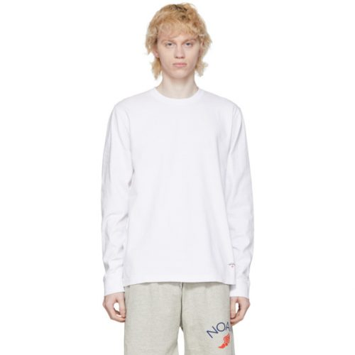 MensNoah NYC Recycled Cotton Long Sleeve T-Shirt in White