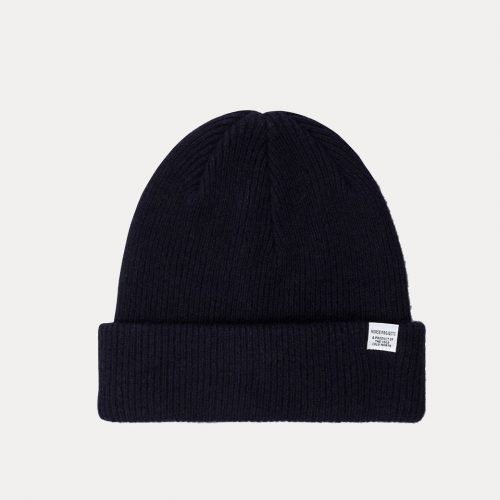 Mens Norse Projects Norse Beanie Hat in Dark Navy Blue