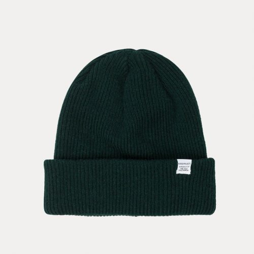 Mens Norse Projects Norse Beanie Hat in Quartz Green