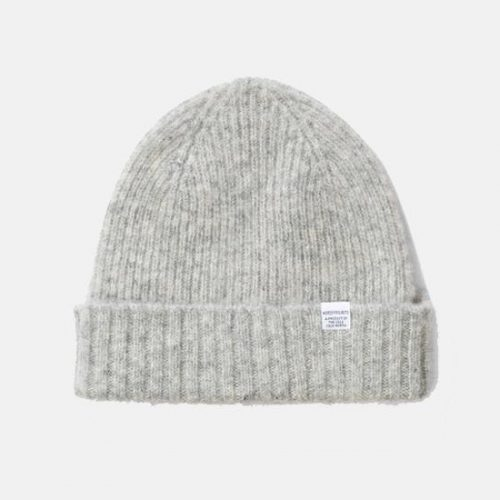 Mens Norse Projects Rib Beanie Hat in Glacier Grey