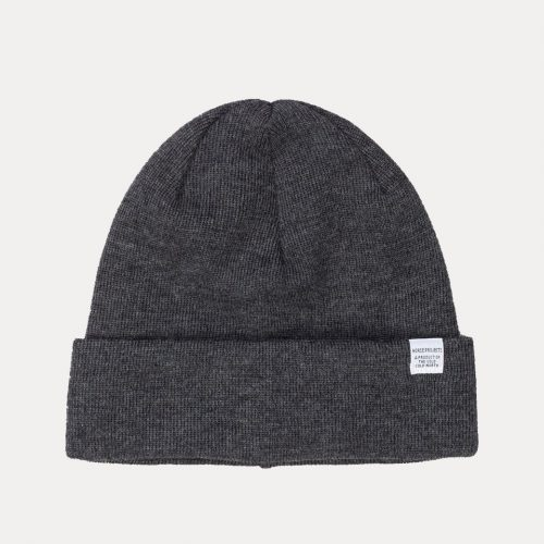 Mens Norse Projects Top Beanie Hat in Charcoal Grey Melange