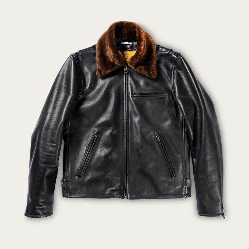 MensShangri-La Heritage Varenne Fur Collar Leather Jacket in Black