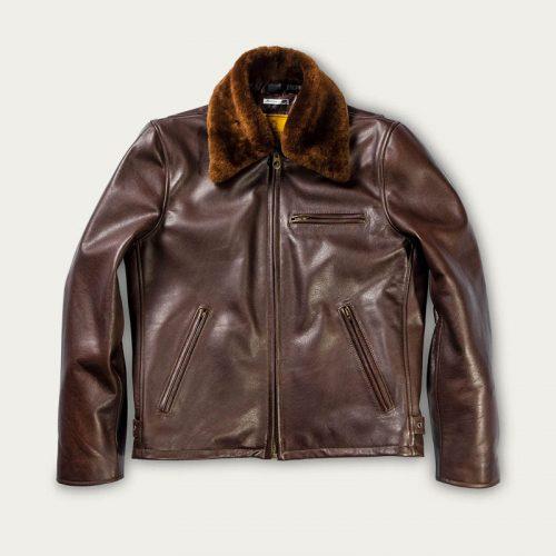 MensShangri-La Heritage Varenne Fur Collar Leather Jacket in Brown