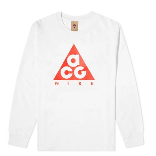 Mens Nike ACG Long Sleeve Logo T-Shirt in White