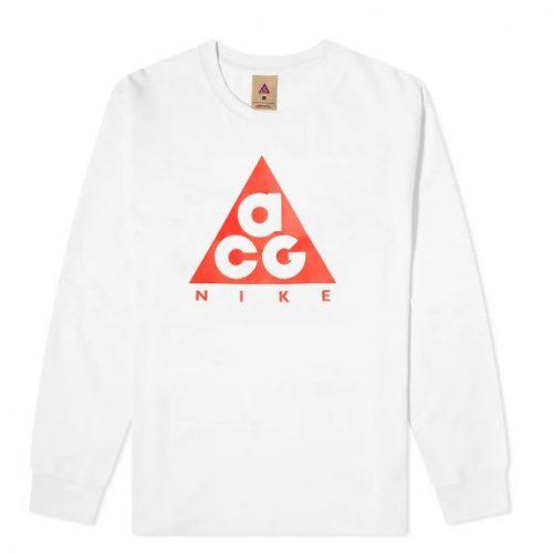 MensNike ACG Long Sleeve Logo T-Shirt in White
