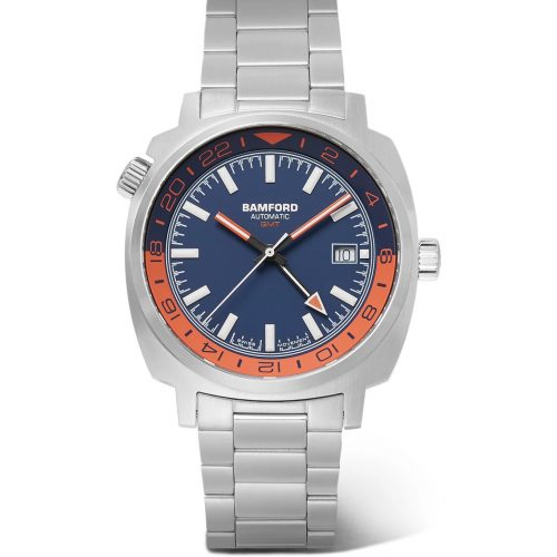 Mens Bamford Watch Department GMT Automatic Stainless Steel Watch in Blue and Orange