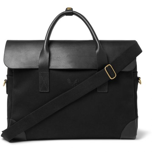 Mens Bennett Winch Cotton-Canvas and Full-Grain Leather Briefcase in Black