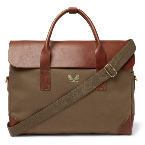 Mens Bennett Winch Cotton-Canvas and Full-Grain Leather Briefcase in Green