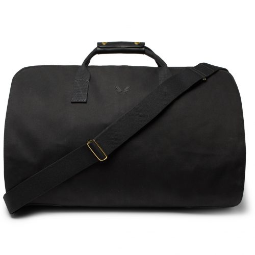 Mens Bennett Winch Leather-Trimmed Cotton-Canvas Suit Carrier and Holdall Bag in Black