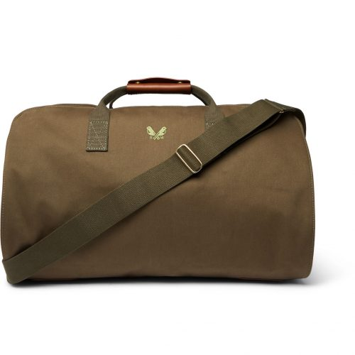 Mens Bennett Winch Leather-Trimmed Cotton-Canvas Suit Carrier and Holdall Bag in Green