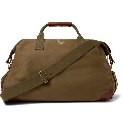 Mens Bennett Winch Weekender Leather-Trimmed Cotton-Canvas Holdall Bag in Green