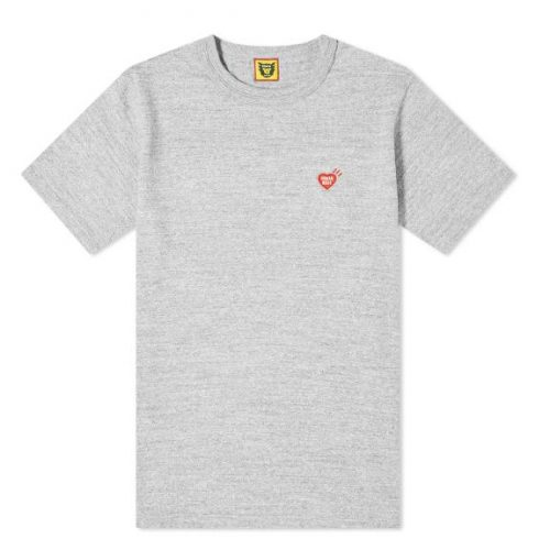 Mens Human Made Heart One Point T-Shirt in Grey