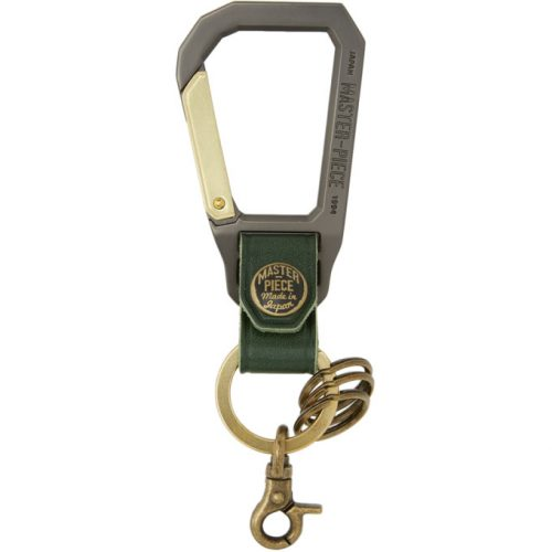Mens Master-Piece Carabiner Keychain in Green and Gunmetal