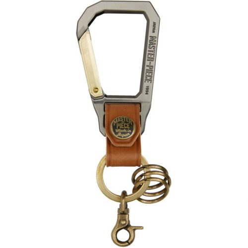 Mens Master-Piece Carabiner Keychain in Tan and Gunmetal