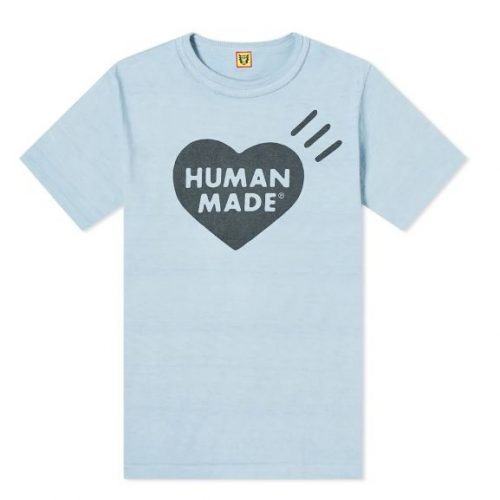 Mens Human Made Bold Heart Logo T-Shirt in Blue