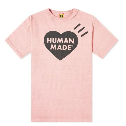 Mens Human Made Bold Heart Logo T-Shirt in Pink