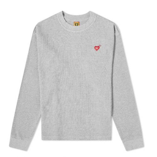 Mens Human Made Long Sleeve Thermal T-Shirt in Grey