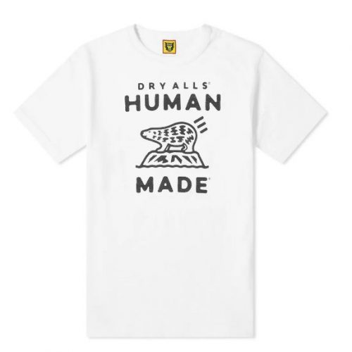 Mens Human Made Polar Bear Logo T-Shirt in White