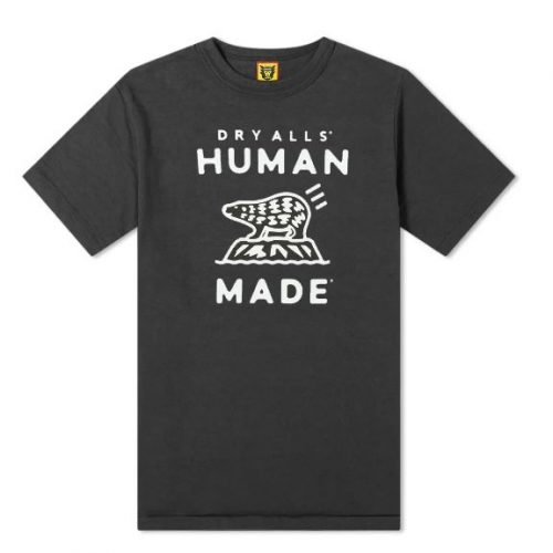 Mens Human Made Polar Bear Logo T-Shirt in Black