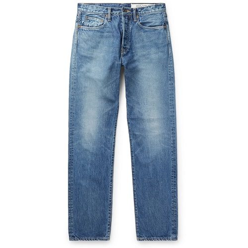 Mens KAPITAL Monkey Cisco Distressed Denim Jeans in Blue