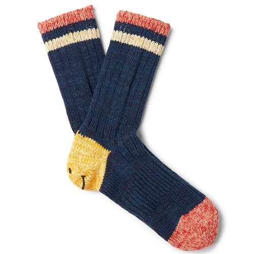 Mens KAPITAL Smiley Striped Cotton and Hemp-Blend Socks in Blue
