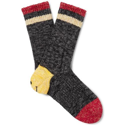 Mens KAPITAL Smiley Striped Cotton and Hemp-Blend Socks in Grey