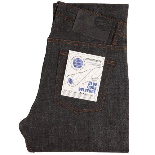 Mens Naked and Famous Denim Weird Guy Blue Core Selvedge Denim Jeans in Indigo