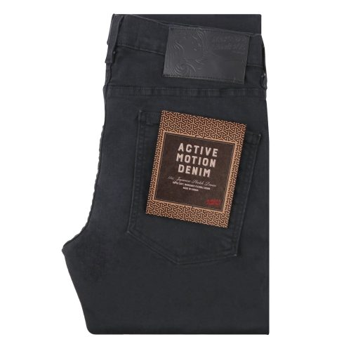 Mens Naked and Famous Denim Super Guy Active Motion Jeans in Black