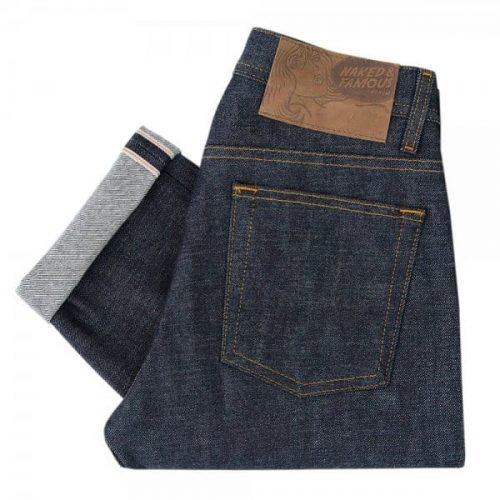 Mens Naked and Famous Denim Weird Guy Red Selvage Jeans in Indigo