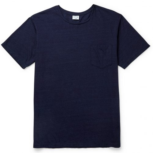Mens orSlow Cotton-Jersey Pocket T-Shirt in Blue