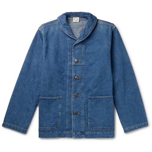 Mens orSlow Shawl-Collar Denim Jacket in Blue