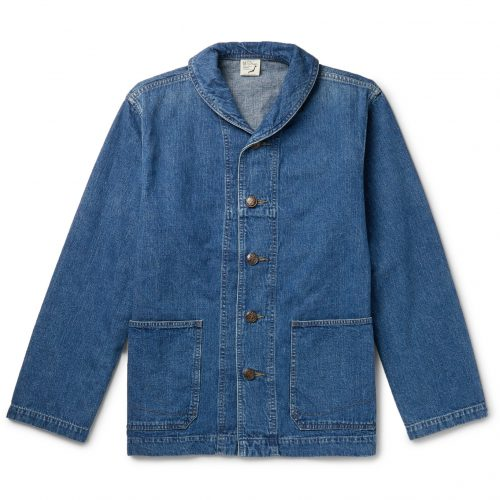 Mens orSlow Shawl-Collar Jacket in Blue Denim
