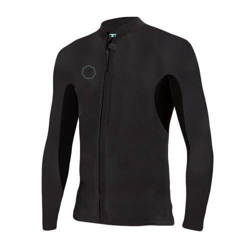 MensVissla 2mm North Seas Front Zip Wetsuit Jacket in Black With Jade