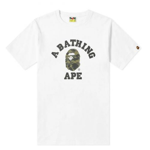 Mens A Bathing Ape 1st Camo College T-Shirt in White