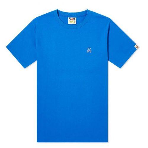 MensA Bathing Ape Short Sleeve Shark One Point T-Shirt in Blue