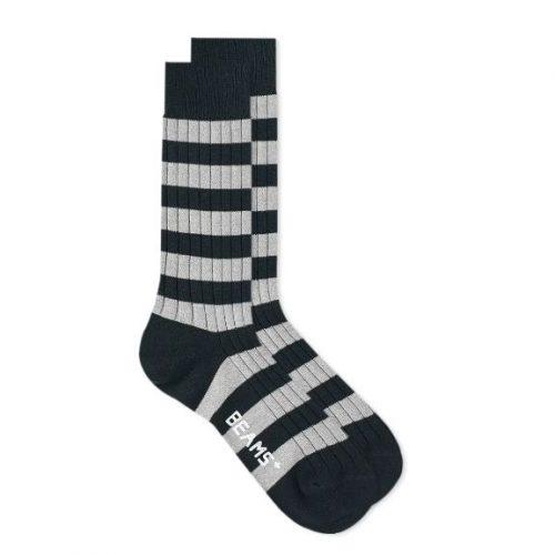 MensBeams Plus Border Stripe Sock in Navy Blue and Grey