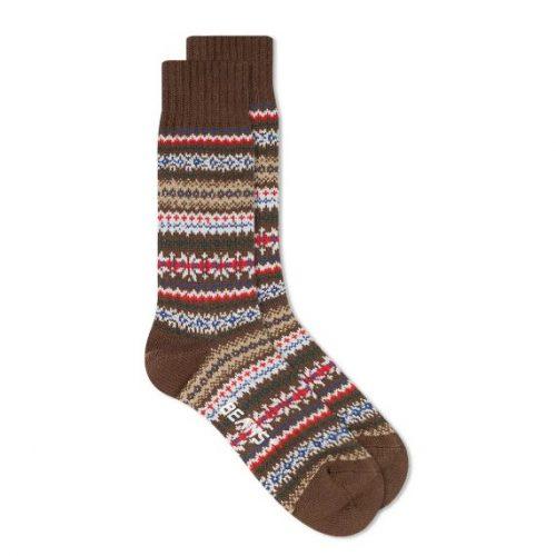 MensBeams Plus Fair Isle Socks in Brown