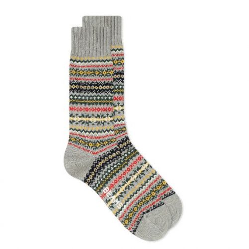MensBeams Plus Fair Isle Socks in Light Grey Charcoal