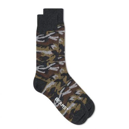 MensBeams Plus Melange Camo Socks in Charcoal